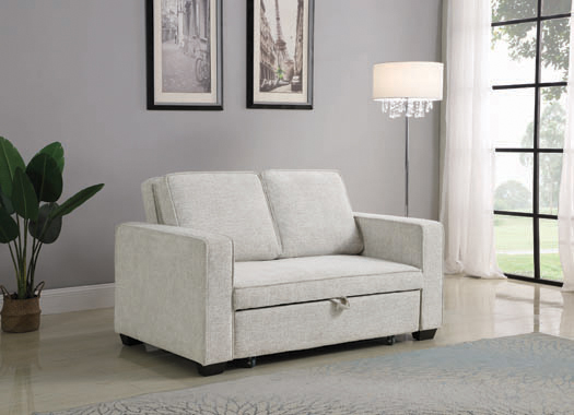 Helene Upholstered Sleeper Sofa Bed Beige - Hover