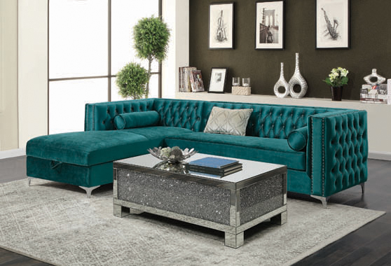 Bellaire Button-tufted Upholstered Sectional Teal - Hover