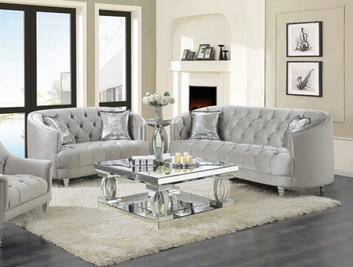 Avonlea Sloped Arm Tufted Sofa Grey - Hover