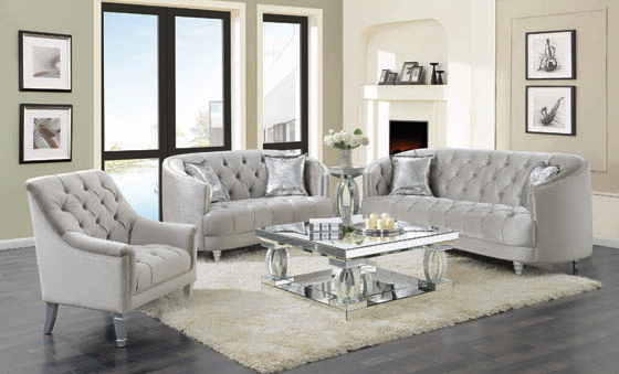 Avonlea Sloped Arm Tufted Loveseat Grey - Hover