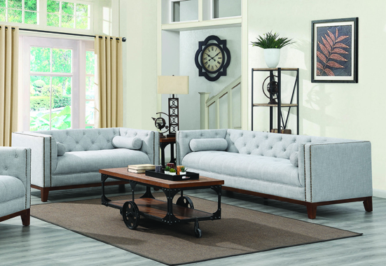 Celle Tuxedo Arm Tufted Sofa Light Grey - Hover