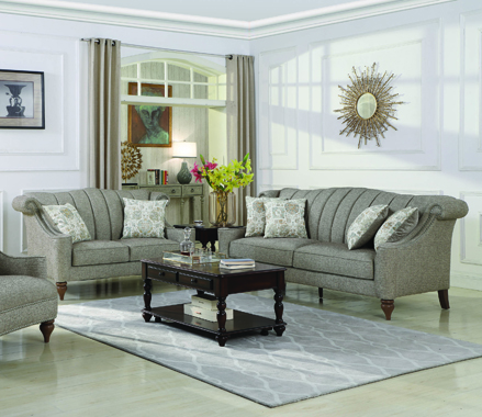 Lakeland Rolled Arm Upholstered Sofa Brown - Hover