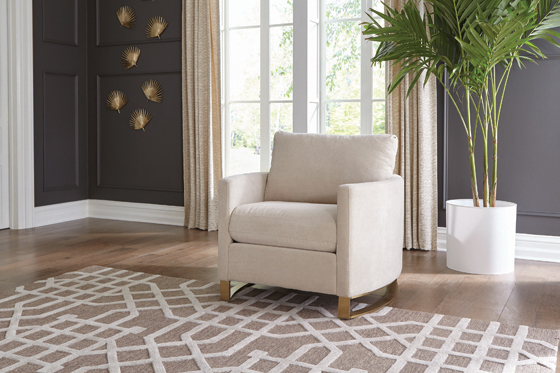 Corliss Upholstered Arched Arms Chair Beige - Hover