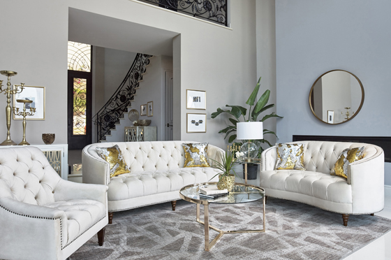 Avonlea 2-piece Upholstered Sloped Arm Living Room Set Off White