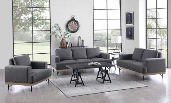 Kester Recessed Track Arm Sofa Charcoal - Hover