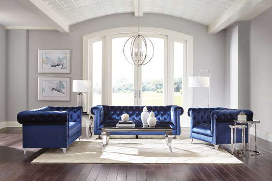 Bleker 3-piece Tuxedo Arm Living Room Set Blue