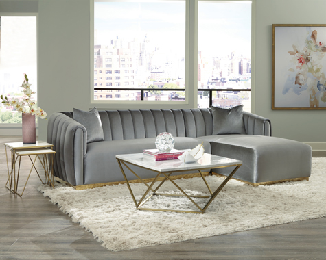 Grisby 2-piece Channeled Tufted Back Sectional Silver - Hover