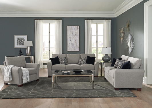 Drayton 2-piece Flared Arm Upholstered Living Room Set Warm Grey