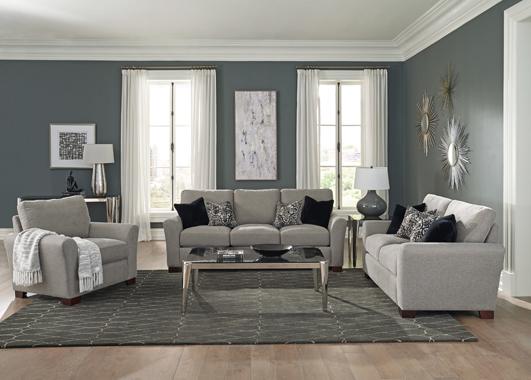 Drayton 3-piece Flared Arm Upholstered Living Room Set Warm Grey