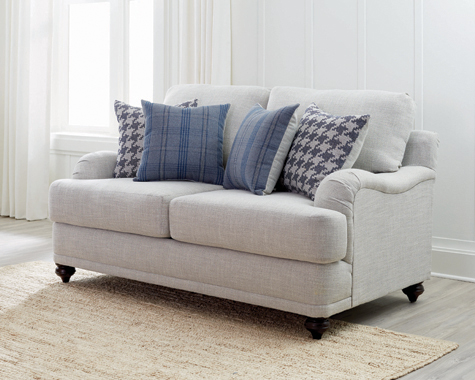 Gwen Recessed Arms Loveseat Light Grey - Hover