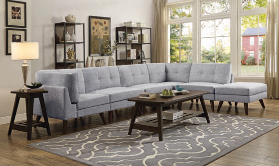 Churchill Button Tufted Corner Sofa Grey - Hover