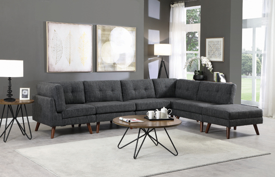 Churchill Tufted Cushion Back Corner Dark Grey and Walnut - Hover