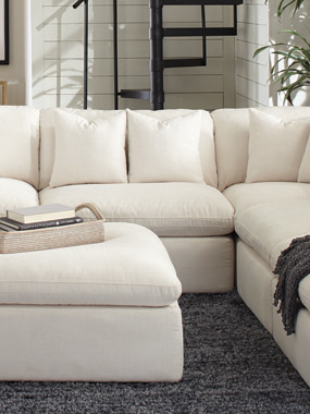 Hobson Cushion Back Armless Chair Off-White - Hover