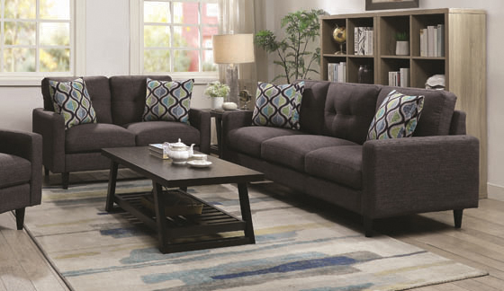Watsonville Tufted Back Sofa Grey - Hover
