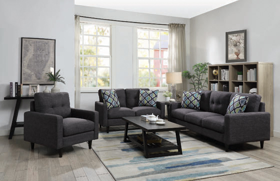 Watsonville Tufted Back Loveseat Grey - Hover