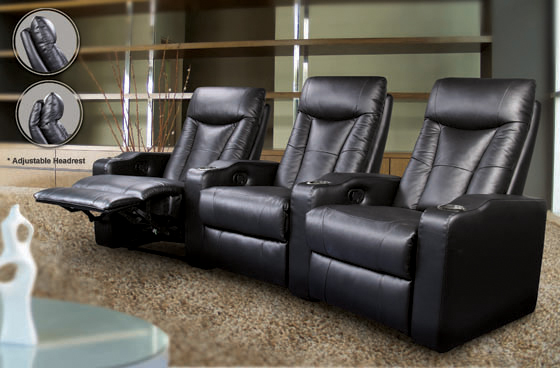 Pavillion Home Theater 3-seated Recliner Black - Hover