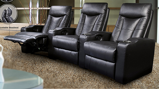 Pavillion Home Theater 4-seated Recliner Black