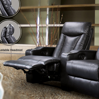 Pavillion Adjustable Headrest Left Recliner Black