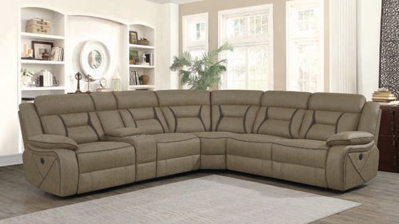 Higgins Four-Piece Upholstered Power Sectional Tan - Hover