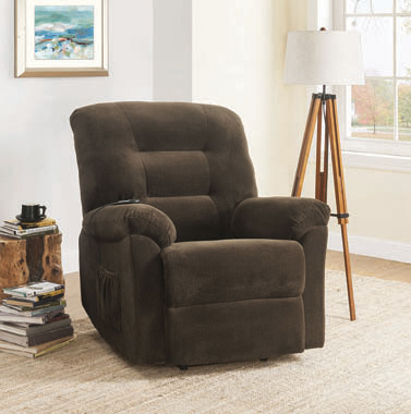 Upholstered Power Lift Recliner Chocolate - Hover