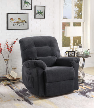 Upholstered Power Lift Recliner Charcoal - Hover