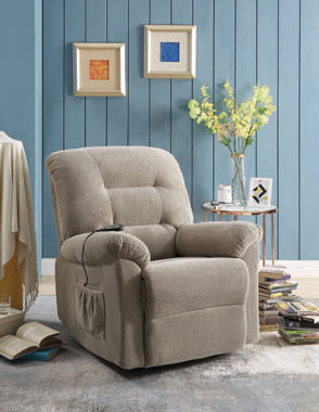 Upholstered Power Lift Recliner Beige - Hover