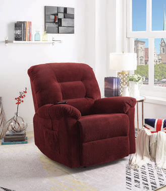 Upholstered Power Lift Recliner Brick Red - Hover