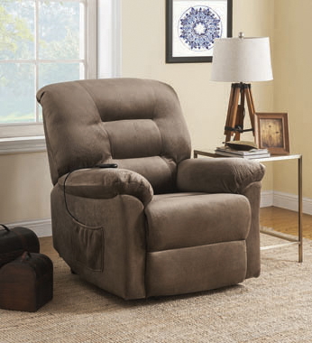 Upholstered Power Lift Recliner Brown Sugar - Hover