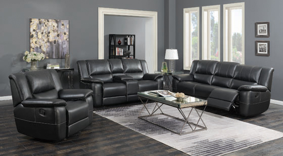 Lee Glider Loveseat with Colsole Black - Hover