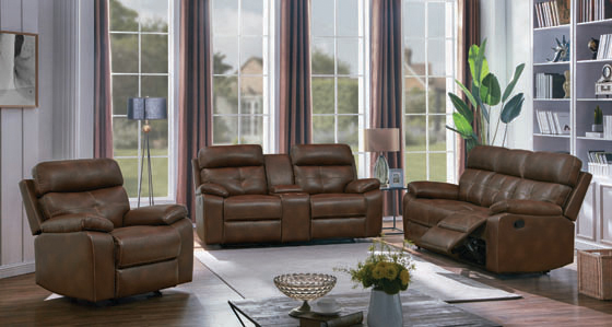 Damiano Button Tufted Motion Sofa Tri-tone Brown - Hover