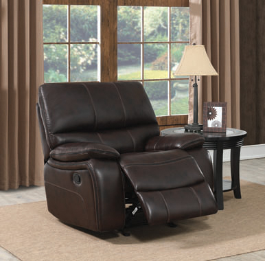 Willemse Upholstered Glider Recliner Dark Brown - Hover