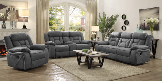 Higgins Pillow Top Arm Motion Loveseat with Console Grey - Hover