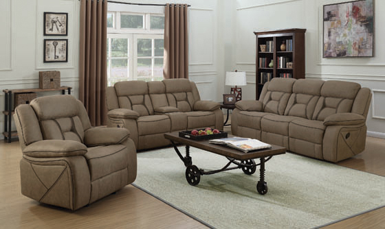 Higgins Pillow Top Arm Motion Loveseat with Console Tan - Hover