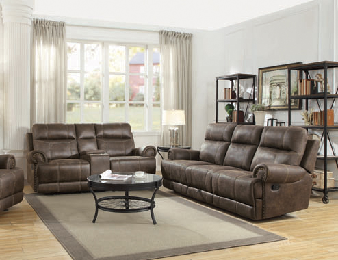 Brixton Upholstered Motion Sofa with Cup Holders Buckskin Brown - Hover