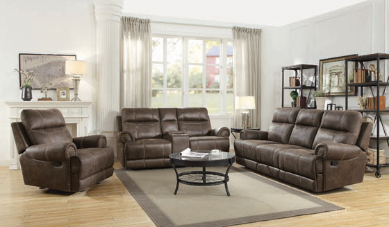 Brixton Glider Loveseat with Cup Holders Buckskin Brown - Hover