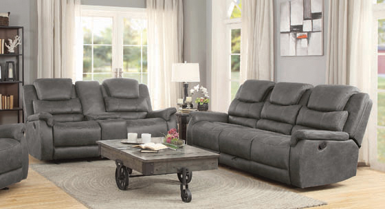 Wyatt Upholstered Motion Sofa with Drop-down Table Grey - Hover