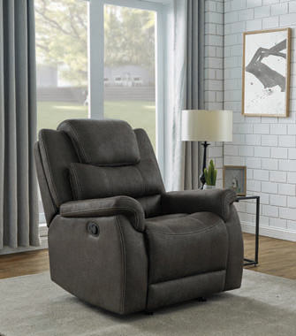 Wyatt Upholstered Glider Recliner Grey - Hover