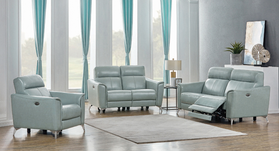 Alberta Upholstered Power Sofa Dark Seafoam - Hover