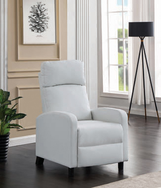 Amelia Upholstered Push Back Recliner White - Hover
