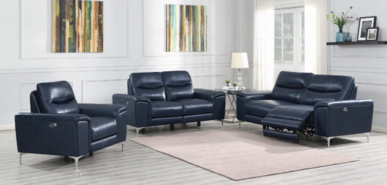 Largo 3-piece Upholstered Power Living Room Set Ink Blue