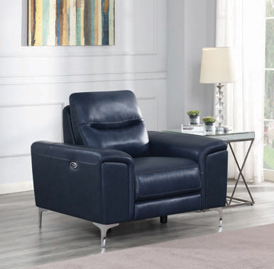 Largo Upholstered Power Recliner Ink Blue - Hover