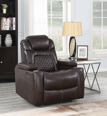 Korbach Upholstered Power^2 Recliner Espresso - Hover