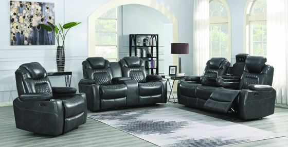 Korbach 3-piece Power^2 Living Room Set Charcoal - Hover