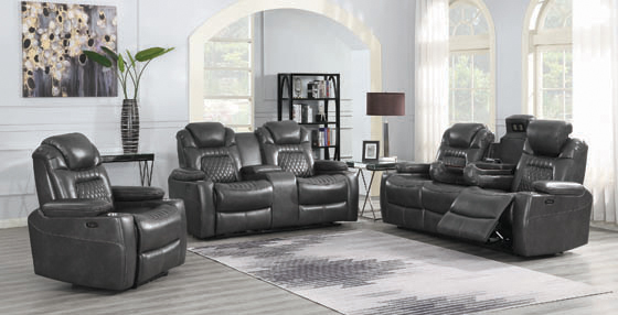 Korbach 3-piece Power^2 Living Room Set Charcoal