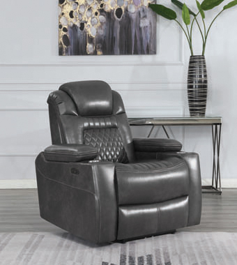 Korbach Upholstered Power^2 Recliner Charcoal - Hover