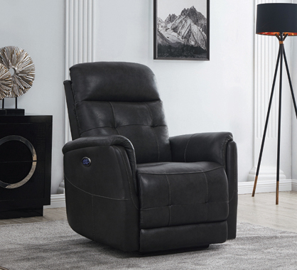 Upholstered Cushion Back Power^3 Recliner Grey - Hover