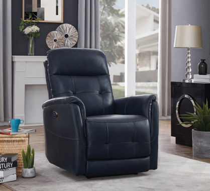 Upholstered Cushion Back Power^3 Recliner Blue - Hover