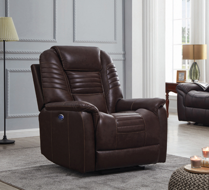 Upholstered Power^3 Recliner with Power Headrest Brown - Hover
