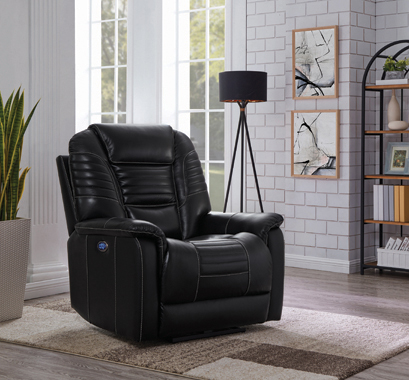 Upholstered Power^3 Recliner with Power Headrest Black - Hover