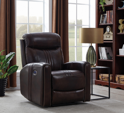 Cushion Back Power^3 Recliner Brown - Hover